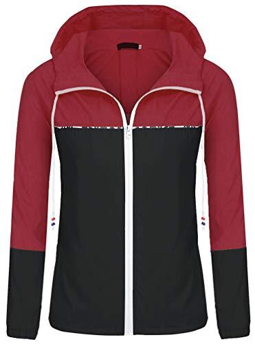 ZEGOLO Women's Raincoats Waterproof Packable Colorblock Windbreaker Lightweight Active Outdoor Hooded Rain Jacket S-XXL ()