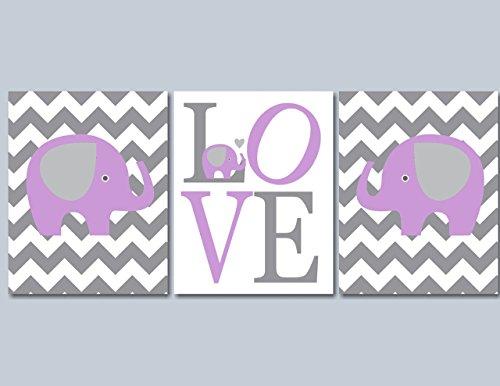 Purple Gray Nursery Wall Art, Elephant Nursery Wall Art, Lavender Gray Girl Wall Art, Lavender Gray Nursery Wall Art, Lavender gray Elephant Baby room Decor- UNFRAMED Set of 3 PRINTS (NOT CANVAS) C150