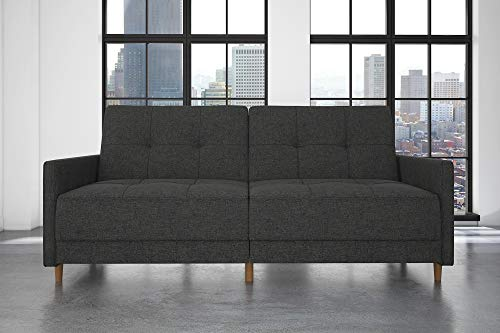 DHP Andora Coil Futon Sofa Bed Couch with Mid Century Modern Design - Grey Linen ()