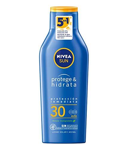 NIVEA SUN Protege & Hidrata Leche Solar FP30 (1 x 400 ml), protector solar hidratante y resistente al agua con proteccion UVA/UVB, proteccion solar alta