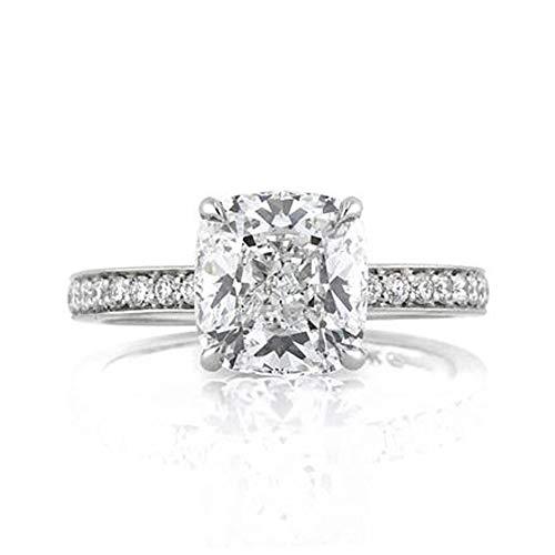 Forever Diamond 3.10Ct Cushion Cut Moissanite Wedding Engagement Ring Real...