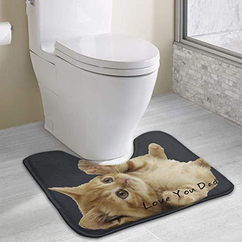 Beauregar Ginger Cat 'Love You Dad' Contour Bath Rugs,U-Shaped Bath Mats,Soft Memory Foam Bathroom Carpet,Nonslip Toilet Floor Mat 19.2″x15.7″
