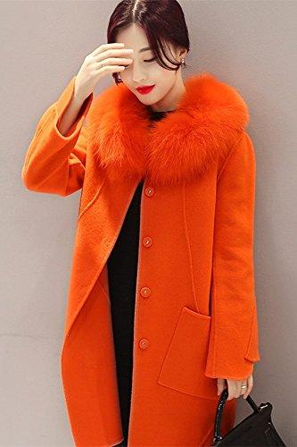 Generic Real_fox_ fur collar wool woolen coat Women girl Korean new _real_ fur collar woolen coat jacket long _sections_ Women
