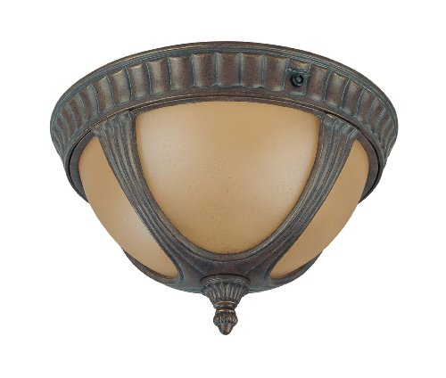 Beaumont Lamp - Nuvo Lighting 60/3907 Beaumont Outdoor Flush Mount with Photocell, Sienna Glass, Fruitwood Bronze