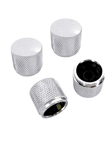 Metallor Knurled Chrome Silver Metal Guitar Tone or Volume Control Knobs 20mm Diameter Dome Style Compatible with Tele Telecaster Style Electric Guitar or Bass Set of 4Pcs.