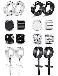 Magnetic Stud Earrings for Men Women Stainless Steel Hoop Cross Non Piercing Fake Gauges Earring Black CZ Hypoallergenic Magnet Earring Set
