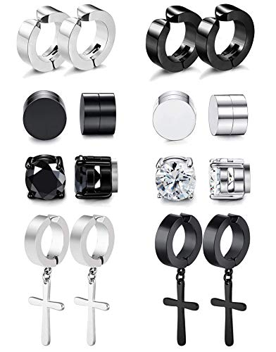 RIOSO Magnetic Stud Earrings for Men Women Stainless Steel Hoop Cross Non Piercing Fake Gauges Earring Black CZ Hypoallergenic Magnet Earring Set