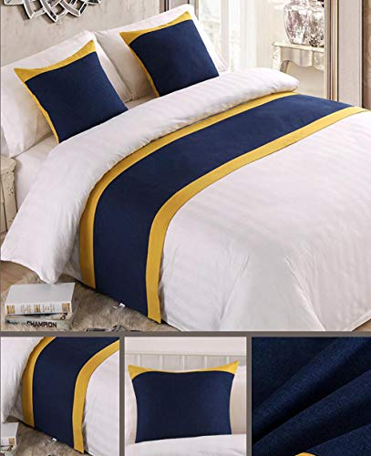 Mengersi Solid Color Soft No Fading Modern Bed Runner Bedding Scarf Protection for Bedroom Hotel Wedding Room (Full/Queen, Navy) ()