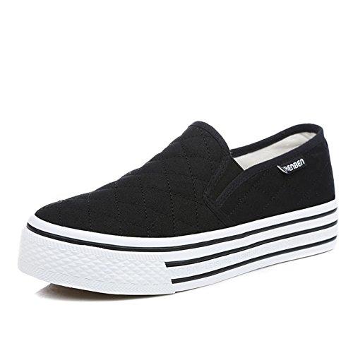 zapatos de lona de mujeres/Zapatos planos blancos/Zapatos de mujer casual estudiante/Blanco Le Fu, zapatos de plataforma con suela gruesa G