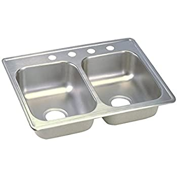 Elegant Dayton D225193 Equal Double Bowl Top Mount Stainless Steel Sink