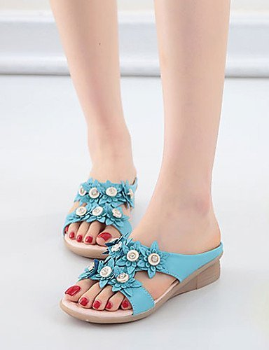 ShangYi Womens Shoes Leatherette Wedge Heel Slingback Sandals Dress / Casual Blue / White Blue