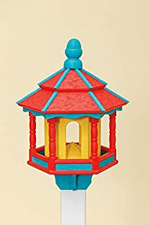 product image for DutchCrafters Poly Small Hexagon Bird Feeder (Red/Teal/Yellow)