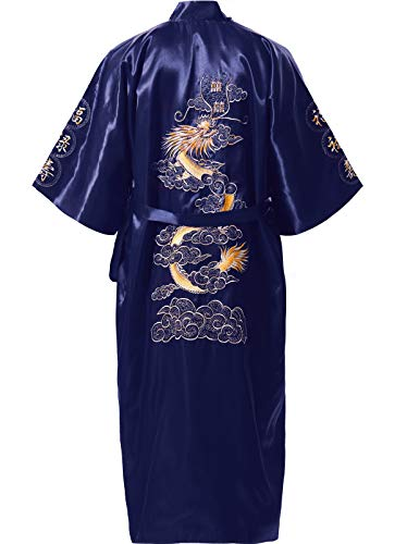 Silk Robe Butterfly - MORCOE Men's Chinese Dragon Embroidered Satin Kimono Yukata Long Robe Soft Loungewear Nightgown Pajamas with Pockets Gift (Style2 Blue(one-Side wear))