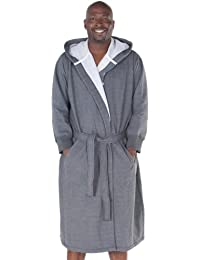 Mens Cotton Robe, Sweatshirt Style Hooded Bathrobe
