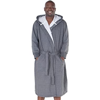 Del Rossa Men's Sweatshirt Style Hooded Cotton Bathrobe,L/XL,Dark heather gray,(A0311ECLXL)