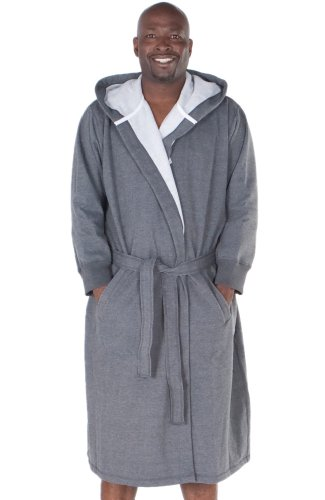 Del Rossa Men's Sweatshirt Style Hooded Cotton Bathrobe Robe,1XL 2XL Dark Heather Gray (A0311ECL2X) by Alexander Del Rossa