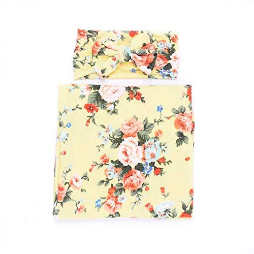 Galabloomer Newborn Receiving Blanket Headband Set Flower Print Baby Swaddle Receiving Blankets Light Yellow ()