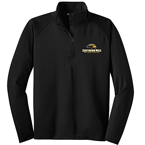 sippi Golden Eagles Men's Performance 1/2 Zip Pullover, Small, Black (Southern Mississippi Golden Eagles Jackets)