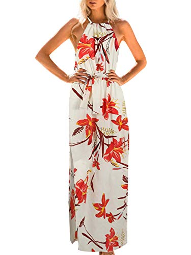 Festnight Women Vintage Floral Print Halter Neckline Dress Sleeveless High Tie Waist Split Maxi Gown Elegant Dress Red
