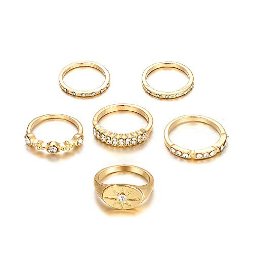 YRY 6 PCS Joint Knuckle Ring Set Gold Color Circle Open Ring for Women Girls (Rhinestone Ring)