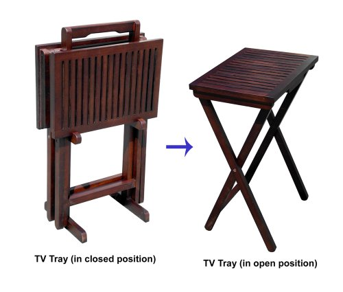 D-Art Mahogany TV Tray Set of 2 tables and 1 stand