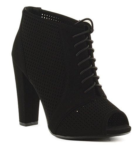 Heerlijke Dames Schoenen Verrijken Lace Up Front Peep Toe Bootie Zwart
