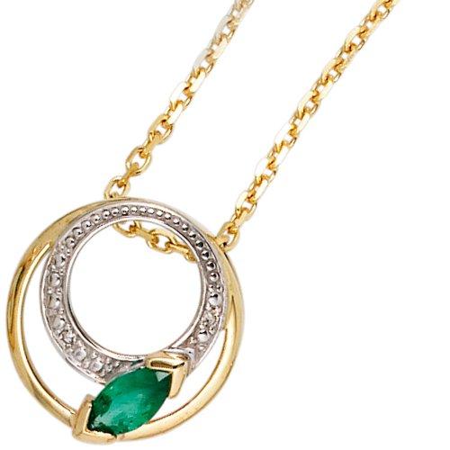 JOBO pendentif en or jaune 585 partiellement rhodié avec 2 diamants 0,01ct. 1 émeraude