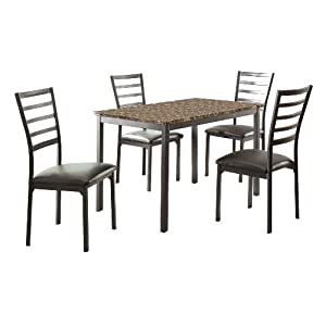 Homelegance 5-Piece Metal Dinette Set, Laminated Faux Marble Top