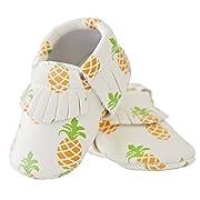Moonbaby Organics Soft Sole Pineapple Vegan Baby Moccasins (0-3 Months)