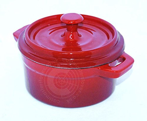 10cm Round Enamelled Oven Cast Iron Stock Pot Casserole Stew Saucepan Dish - Red 13cm x 7.5cm CASTMASTER STOVES