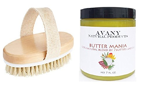 Skin Polisher Facial Exfoliant (2 Pc Set Dry Skin Body Brush and After Shower Organic Body Butter – Exfoliate to Reduce Cellulite - Body Brushing Moisturizer for Clear Glowing Soft Skin - Blend of 7 Natural butters and oils)