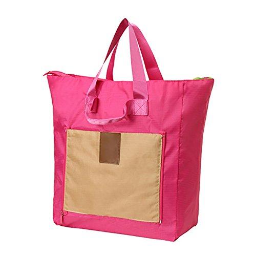 MYU Design Large Capacity Foldable Waterproof Travel Duffel Bag Shopping Totes (Rose)