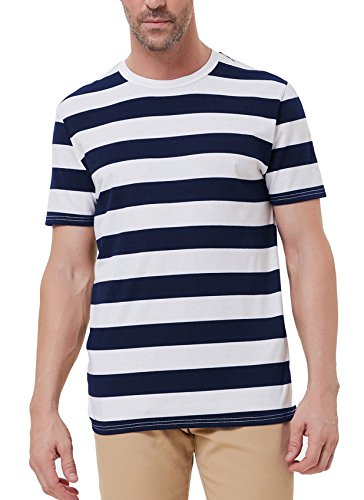 PAUL JONES Men Casual Pullover Basic Crew Neck Short Sleeve Striped Tee T (Mens Basic Crewneck T-shirt)