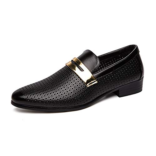 WENIN Men's Dress Shoes Slip On Formal Oxfords Toe Shoes Dress Shoes Leather Formal Stylish Shoes for Men Black Leather Boots Tuxedo 2019 (Color : Black, Size : 10 M US)