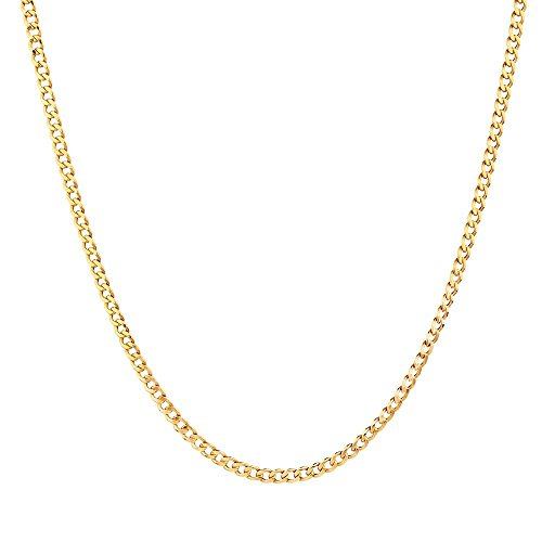 "Gold Square Curb Chain (MCS Jewelry 10 Karat Yellow Gold Curb Link Hollow Chain Necklace (Length: 24""))"