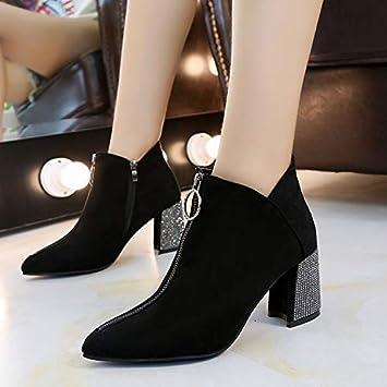 Shukun Botines Botas de Zapatos de Mujer Botas Cortas de otoño e Invierno Botas Cortas Pantalones Cortos con Cremallera Frontal de tacón Alto Botas Martin: ...