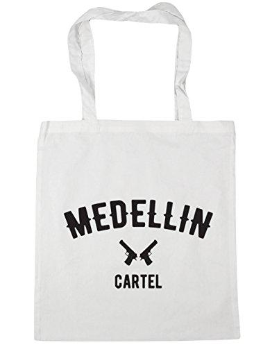 HippoWarehouse Medellin Cartel Pablo Escobar Tote Compras Bolsa de playa 42cm x38cm, 10litros blanco