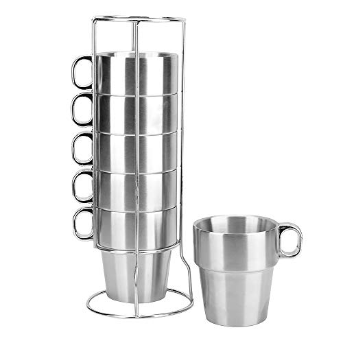 MyLifeUNIT Stainless Steel Insulated Cups Coffee Cups, Double Layer Heat Insulation, Set of 6 (Coffee Cups Stack Of)