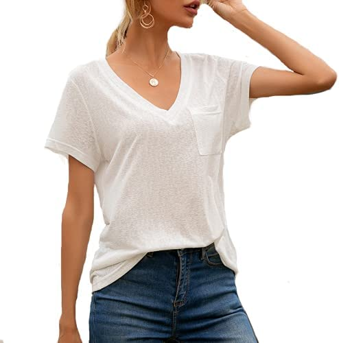 Rural guy Womens Tshirts 2021 V Neck Pocket Casual Loose Short-Sleeved Shirt Blouse