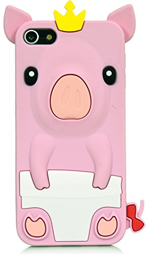 iPod Touch, 3D Pig Cartoon Silicone Full Cover Case for Apple iPod Touch 6th Gen 5th Gen by iSee Case (Light Pink) (Pig Ipod 4 Case)