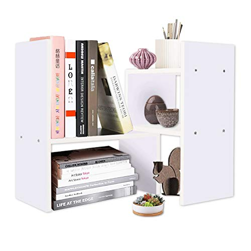 DL furniture Expandable Wood Desktop Storage Organizer Multipurpose Desk Bookshelf Display Shelf Rack Counter Top Bookcase for Office Home Style 2, Light Purple