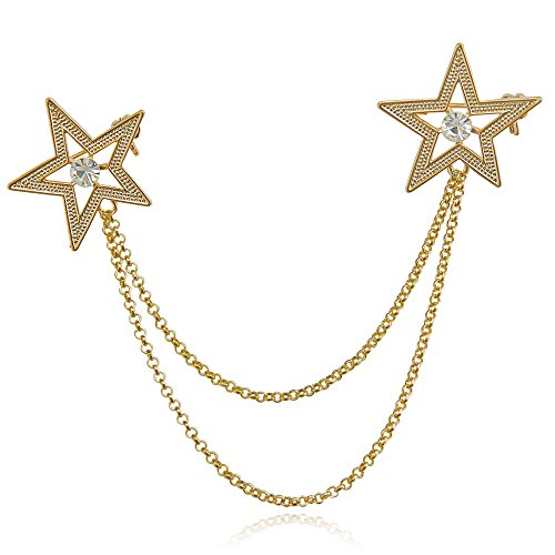 DMI Fashion Jewelry Gold-Tone Clear Crystal Stars Lapel Suit Brooches ()