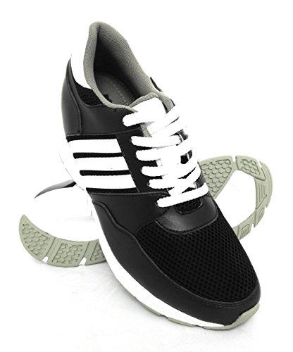 Zerimar Scarpe Sportive con Aumentato Interno di 8 cm Realizzata in Pelle di Alta Qualità 100% Pelle Colore Nero Taille 43