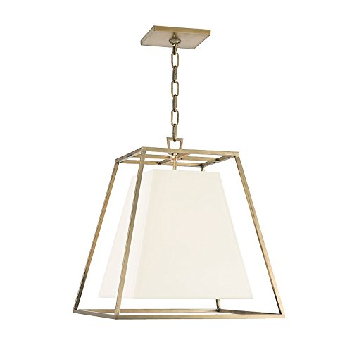 Kyle 4-Light Pendant - Aged Brass Finish with White Faux Silk Shade
