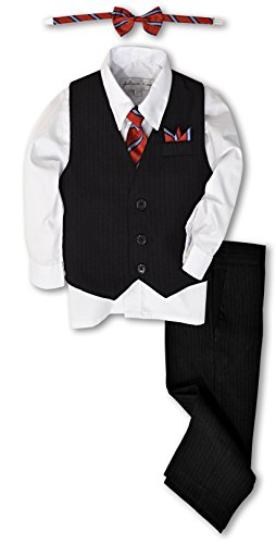 Johnnie Lene JL40 Pinstripe Boys Formal Dresswear Vest Set (5, Black/White)