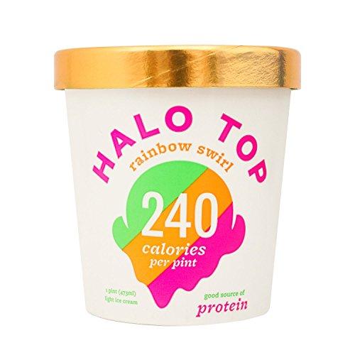 Halo Top Ice Cream Pint, Rainbow Swirl, 16 Ounce (Pack of 8) (Top Cream Ice)