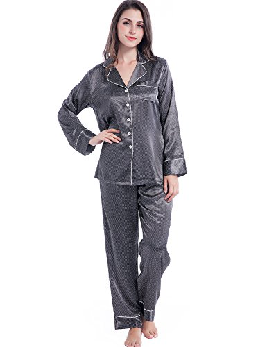 Serenedelicacy Women's Silky Satin Pajamas, Button Up Long Sleeve PJ Set Sleepwear Loungewear (Small, Pin Dots on Deep ()