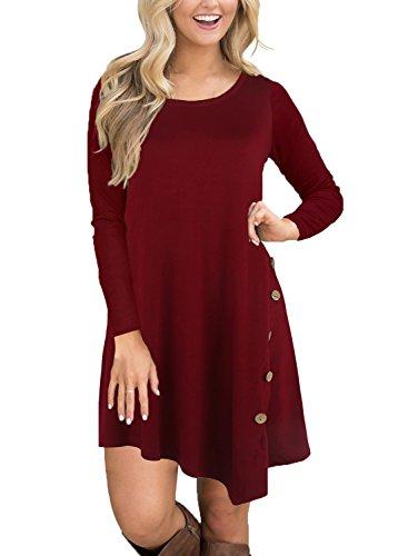 Fantaist Womens Long Sleeve Asymmetrical Hem Button Casual Loose T-Shirt Dress