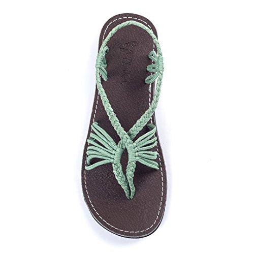 Plaka Flat Summer Sandals For Women by Sage Green 8 Seashell