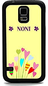 Rikki KnightTM Noni Name Colorful Flowers on Spring Buttercup Yellow Background - Floral Design Design Samsung? Galaxy S5 Case Cover (Black Rubber with front Bumper Protection) for Samsung Galaxy S5 i9600